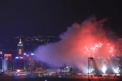 在维多利亚港口,香港的烟花 图库摄影
