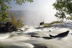 在维多利亚瀑布,利文斯东,赞比亚顶部的宽看法背景风景 免版税图库摄影
