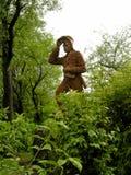 在维多利亚瀑布,赞比亚的利文斯通博士雕象 免版税库存图片