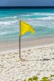 在巴巴多斯海滩的黄旗 免版税库存照片