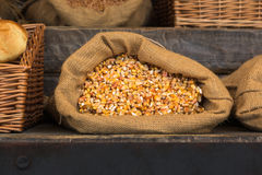 在黄麻大袋里面的玉米五谷 免版税库存照片