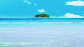 在晴天光的热带海海浪运动在海滩,与海土地海岛 股票录像