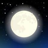 在满天星斗的天空的月亮 库存例证