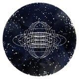 在满天星斗的天空的神圣的几何 库存例证