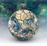 在满天星斗的天空的背景的破裂的地球 库存图片