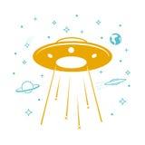 在满天星斗的天空的飞碟象 向量例证