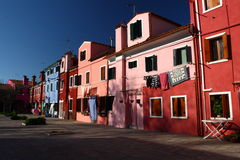 在晴天期间,威尼斯, Burano 免版税库存图片
