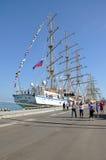 在索契港的帆船娜代日达  免版税库存图片