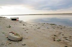 在索姆省,法国海湾的日落  库存照片