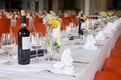 在结婚宴会的表设置 免版税图库摄影