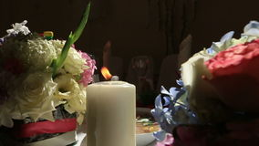在结婚宴会的装饰焦点 接近的重点虚拟 股票录像