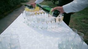在结婚宴会的香宾玻璃 影视素材