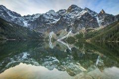 在绿宝石湖上的蓝天 库存照片