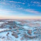 在冻寒带草原河上的短的冬日,顶视图 免版税图库摄影