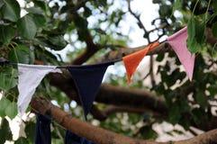 在洞寺庙的佛教祷告旗子在Dambulla 免版税库存图片