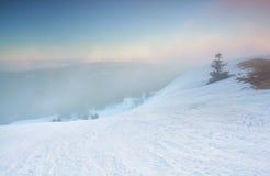 在费尔德伯格山顶部的平静的冬天日出 免版税库存图片