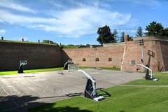 在贝尔格莱德堡垒,贝尔格莱德,塞尔维亚里面的Asketball法院 免版税库存照片
