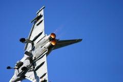 在费尔福德皇家空军基地空气纹身花刺的台风战斗机 图库摄影
