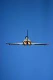 在费尔福德皇家空军基地空气纹身花刺的台风战斗机 库存照片