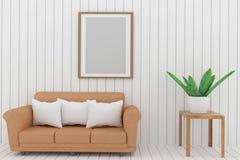 在绝尘室设计的沙发与框架照片和室内植物的嘲笑在3D翻译 免版税图库摄影