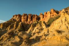 在黑岩石海滩的砂岩峭壁在墨尔本,澳大利亚 免版税库存照片
