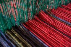 在织布机的毛纱 图库摄影