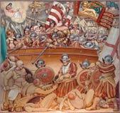 在1571年帕多瓦-勒班陀战役油漆在教会Basilica del Carmine里 图库摄影