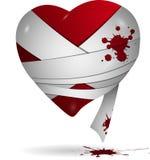 在绷带的心脏 库存照片