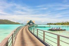在水平房到博拉博拉岛isla的惊人的绿色盐水湖里 库存图片