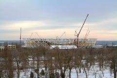 在2018年一新的橄榄球场`伏尔加格勒竞技场`的建筑世界杯的在冬天在伏尔加格勒 库存照片
