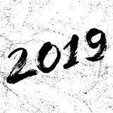 在2019年上写字的手拉的难看的东西 免版税库存照片