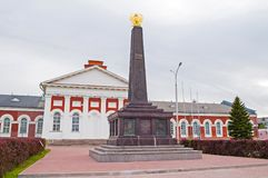 在1812年对民兵的纪念碑以记念军事民兵英雄主义反对拿破仑军队的 novgorod veliky的俄国 免版税库存图片
