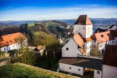 在1219年建立的堡垒,帕绍,德国 库存照片
