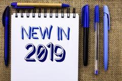在2019年文字笔记显示新 陈列新时代最新的年期间季节年鉴以后的现代的企业照片写在N 免版税图库摄影