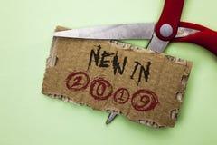 在2019年文本标志显示新 概念性在泪花纸板写的照片新时代最新的年期间季节年鉴以后的现代 库存照片