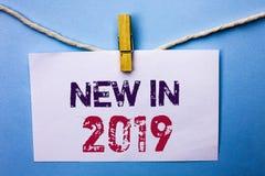 在2019年文本标志显示新 概念性在白色笔记写的照片新时代最新的年期间季节年鉴以后的现代Pap 库存图片
