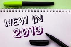 在2019年概念性手文字显示新 陈列新时代最新的年期间季节年鉴以后的现代wr的企业照片 免版税库存图片