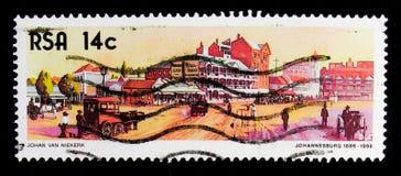 在1886年约翰内斯堡市,百年约翰内斯堡serie,大约1986年 免版税库存照片