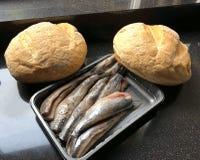 在1574年纪念莱顿的解放的鲱鱼和白面包 免版税图库摄影