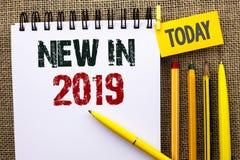 在2019年词文字文本新 新在笔记本写的时代最新的年期间季节年鉴以后的现代的企业概念B 免版税库存照片