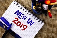 在2019年词文字文本新 新在笔记本写的时代最新的年期间季节年鉴以后的现代的企业概念B 免版税库存图片