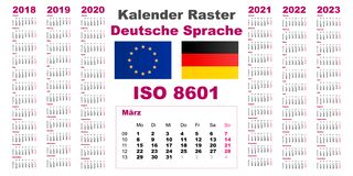 在2018年2019年2020年2021年2022年2023年,ISO 8601设置栅格挂历Deutsche德语荷兰语语言与几星期 库存例证