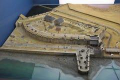 在1758年Louisbourg历史的堡垒的比例模型在堡垒的捕获的以后英国 免版税库存照片