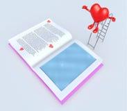 在绷床垂度的心脏在书 库存图片