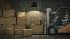 在仓库或存贮装货纸板箱的叉架起货车 3d 免版税库存照片