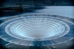 在水库的污水池 免版税库存照片