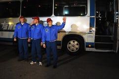 在离开前的ISS乘员组 图库摄影