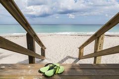 在离开的海滩duneswith绿色鞋子的木台阶 库存照片