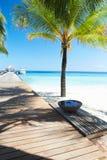 在离开的热带棕榈滩的木跳船在马尔代夫 免版税图库摄影