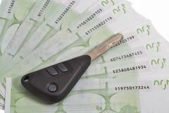 在100张欧洲票据背景的汽车钥匙 免版税库存图片